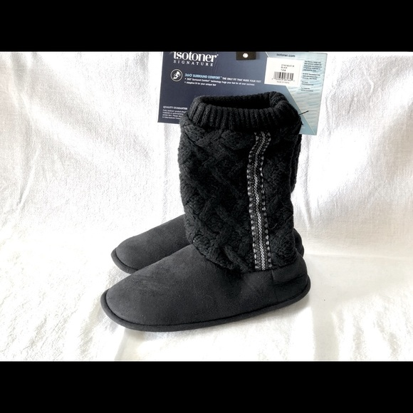 NWT Isotoner Women Tessa Knit Tall Bootie Slippers